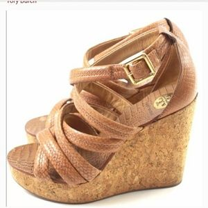 Jeanine Leather Cork Wedge Sandals Snake Printed